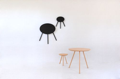 contemporary stool / wooden / folding / black
