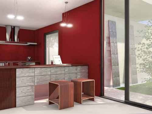 indoor tile / wall / porcelain stoneware / plain