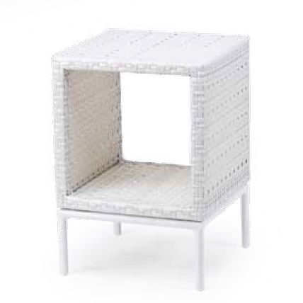contemporary side table / painted aluminum / resin wicker / square