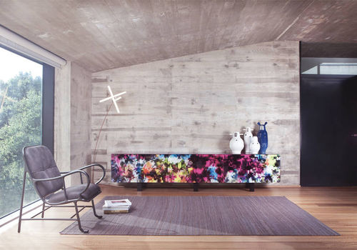 contemporary sideboard / tempered glass facing / lacquered MDF / solid wood