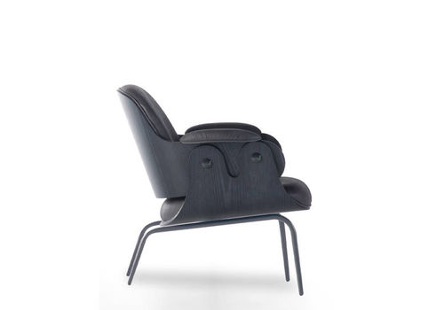 contemporary armchair / leather / painted steel / contract