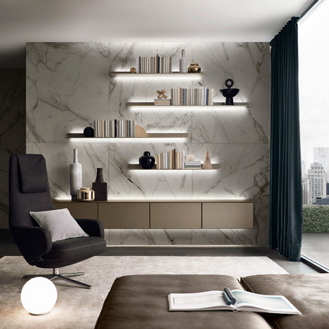 Contemporary Living Room Wall Unit / Lacquered Glass