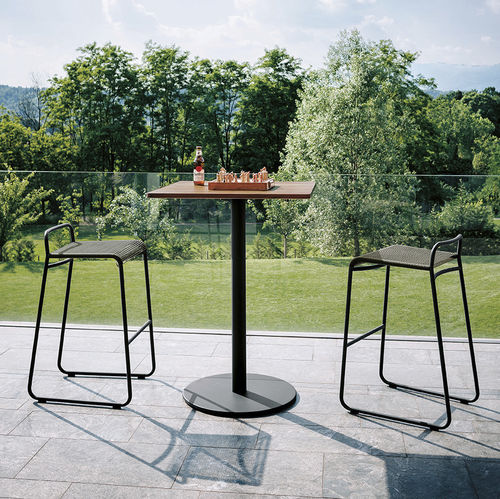 contemporary high bar table / teak / stainless steel / HPL