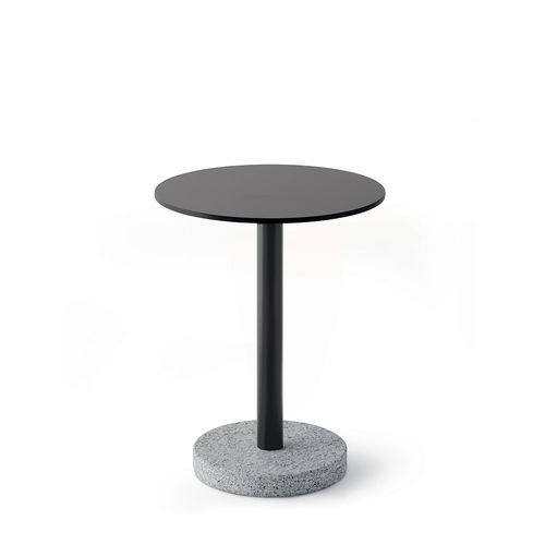 contemporary side table / stainless steel / HPL / stone
