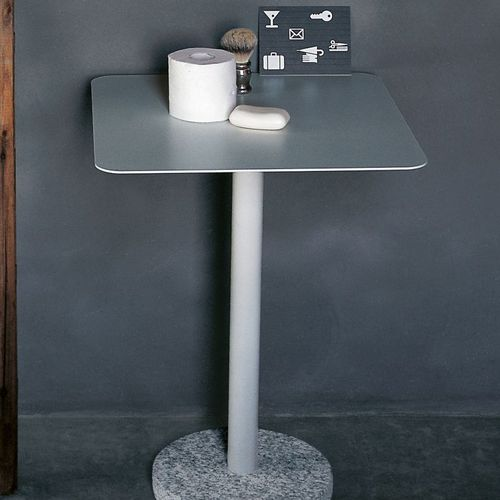 contemporary side table / stainless steel / stone / square