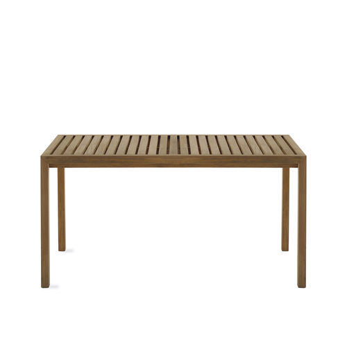 contemporary table / teak / rectangular / garden