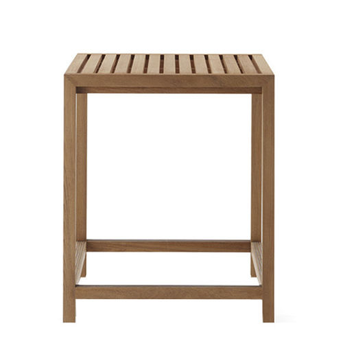 contemporary high bar table / teak / square / garden