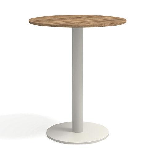 contemporary high bar table / teak / powder-coated steel / HPL