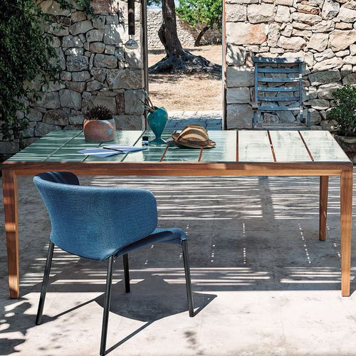 contemporary table / teak / glazed ceramic / rectangular