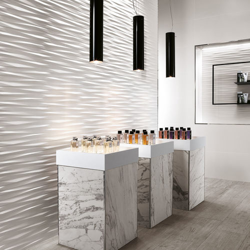 Indoor tile / wall / porcelain stoneware / geometric pattern 3D WALL DESIGN : BLADE WHITE Atlas Concorde