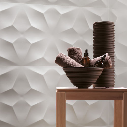 Wall tile / porcelain stoneware / geometric pattern / matte 3D WALL DESIGN : DIAMOND WHITE & NIGHT Atlas Concorde
