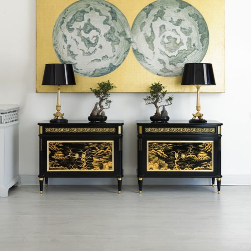 sideboard with long legs / traditional / cherrywood / brass