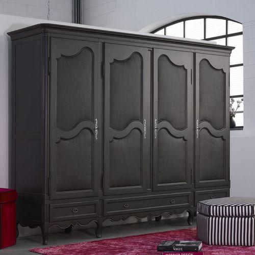 Louis XV style wardrobe / beech / fabric / with swing doors