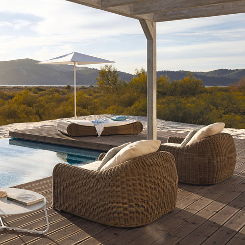 Contemporary armchair / fabric / wicker / outdoor RIVER MANUTTI