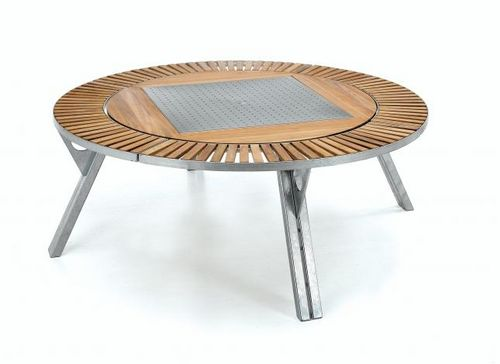 Picnic table / contemporary / metal / wooden GARGANTUA by Dirk Wynants EXTREMIS