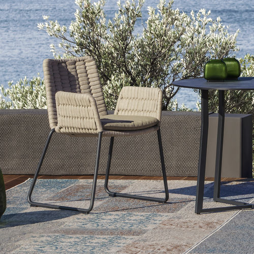 contemporary garden chair / with armrests / sled base / aluminum