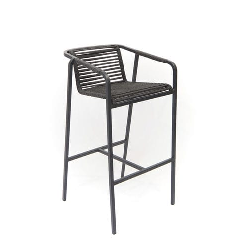 contemporary bar chair / with armrests / aluminium / polished stainless steel