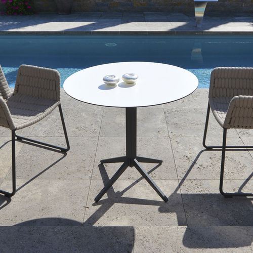 contemporary bistro table / stainless steel / rectangular / round