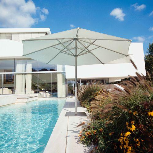 wooden patio umbrella / aluminum