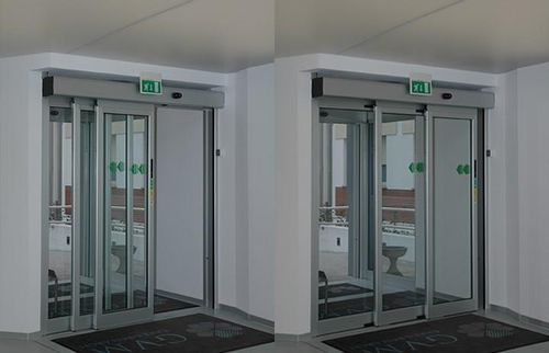 Sliding entry door / automatic / security / glazed TSA TOS Ponzi