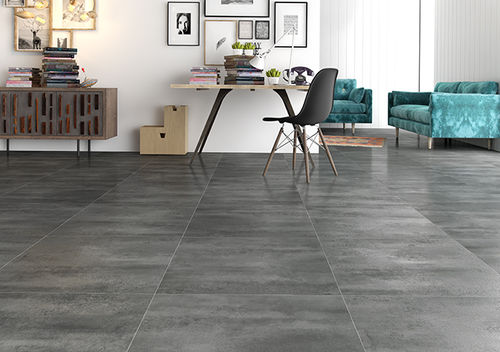 HDF laminated floor tile / floating / stone look / for domestic use