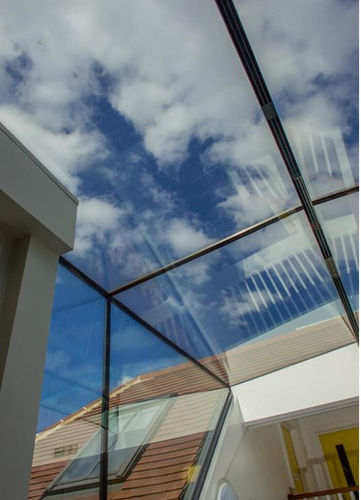partition wall glass panel / building / for facades / transparent