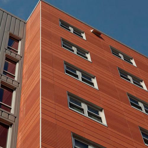 ventilated facade cladding / terracotta / smooth / panel