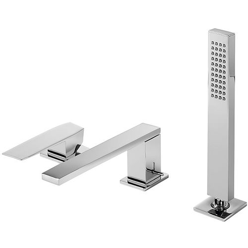 shower mixer tap / for bathtubs / deck-mounted / chromed metal