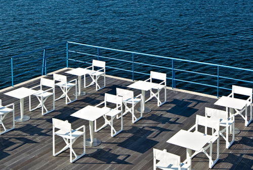 Contemporary bistro table / low-density polyethylene (LDPE) / HPL / round PILE UP by Michel Boucquillon SERRALUNGA