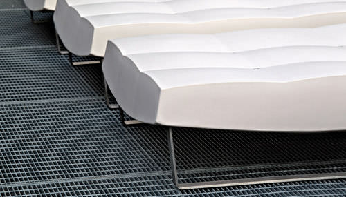 contemporary ottoman / metal / low-density polyethylene (LDPE) / indoor
