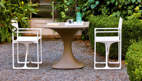 contemporary garden chair / folding / with armrests / sled base