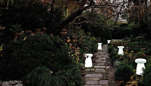 Contemporary stool / low-density polyethylene LDPE / garden / illuminated PORCINO by Aldo Cibic      SERRALUNGA