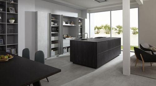 contemporary kitchen / wooden / island / hidden