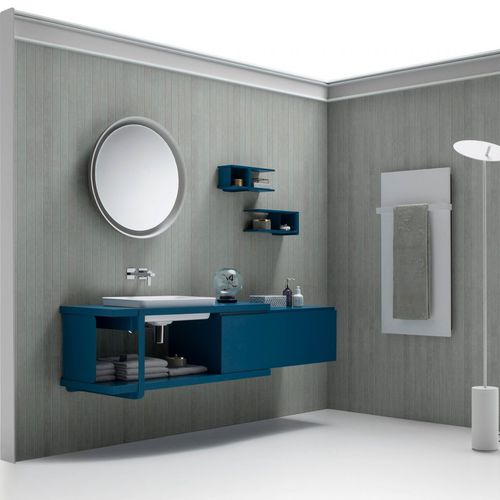 wall-hung washbasin cabinet / wooden / glass / melamine