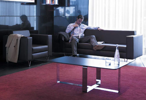 contemporary sofa / leather / for public buildings / 2-person