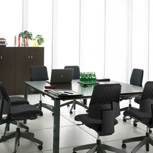 Contemporary boardroom table / laminate / rectangular / with integrated electrical outlet XENON  OFITA