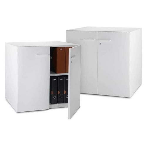 low filing cabinet / laminate / with hinged door / contemporary