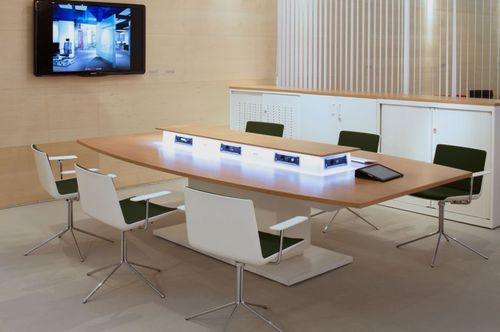contemporary boardroom table / wooden / square / rectangular