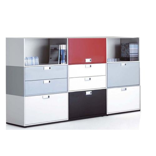 low filing cabinet / metal / laminate / with drawers