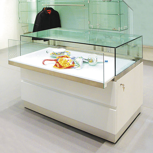 contemporary display case / glass / wooden / low