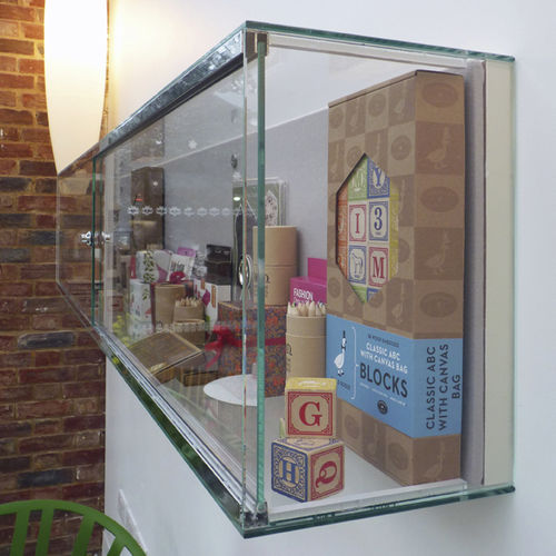 contemporary display case / wall-mounted / glass / stainless steel