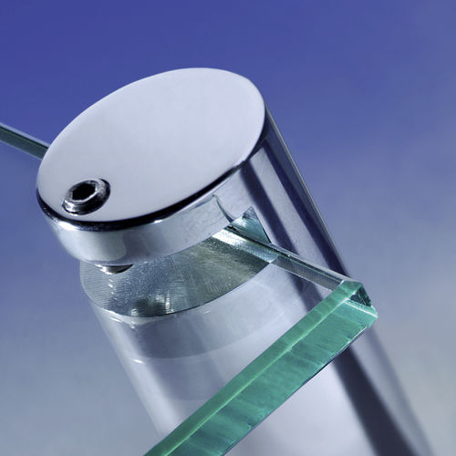 metal glass clamp / for panels / for walls