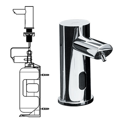 commercial soap dispenser / built-in / chromed metal / electronic