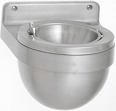 wall-mounted ashtray / stainless steel / for outdoor use / for public spaces