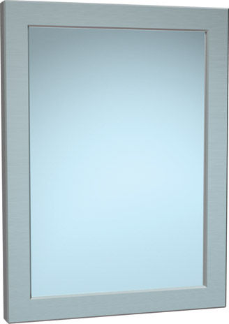 wall-mounted bathroom mirror / contemporary / rectangular / stainless steel