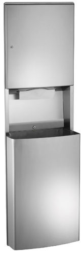 built-in paper towel dispenser / stainless steel / with trash can