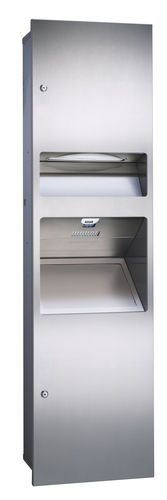 wall-mounted paper towel dispenser / metal / high-speed / with integrated hand dryer