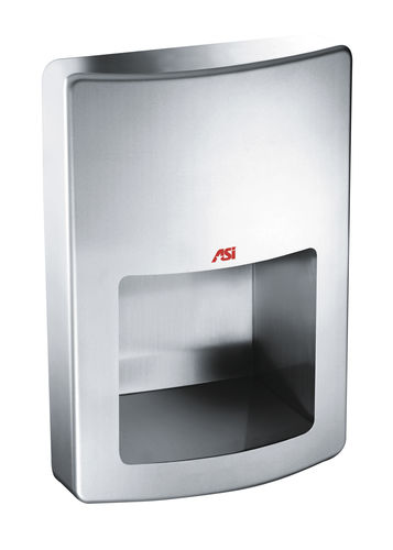 automatic hand dryer / semi-recessed / wall-mounted / stainless steel