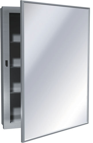 contemporary bathroom cabinet / stainless steel / with mirror