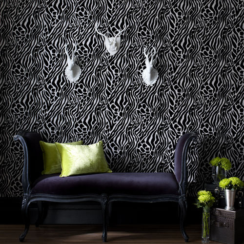 contemporary wallpaper / monochrome / washable / non-woven